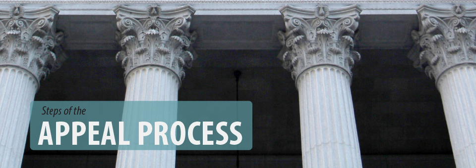 Appeal process banner: image of four Corinthian pillars